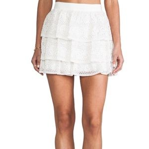 Alice + Olivia silk beaded Ruba mini skirt
